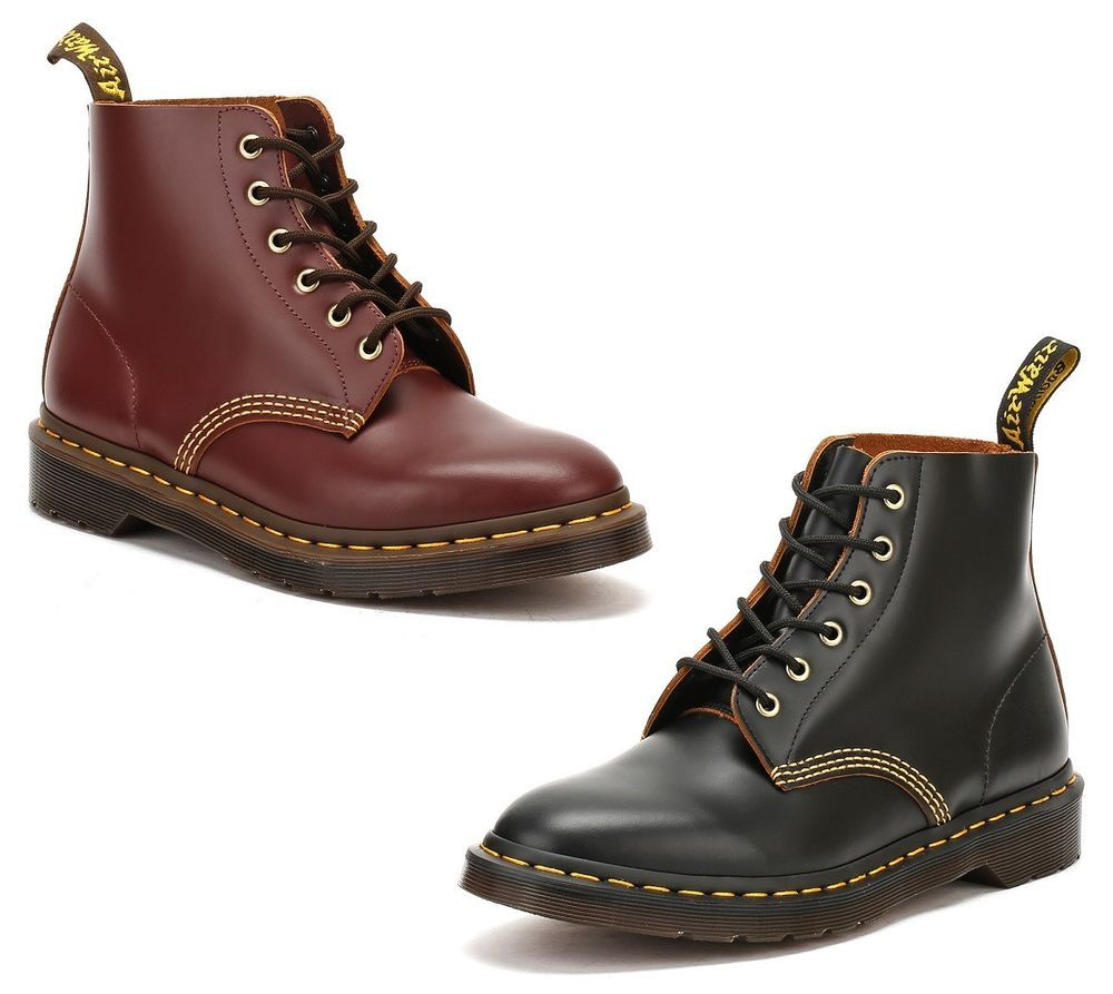 Dr. Martens Mens Black or Red 101 Ankle Boots, Lace Up