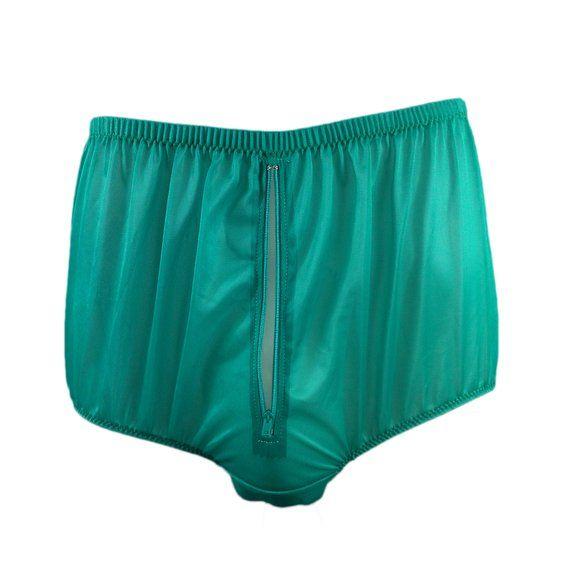 54e0b05c759a Split Panty Briefs Panties Nylon Gusset Zip Men Underwear Zipper Knicker  Sexy Women Undies Green