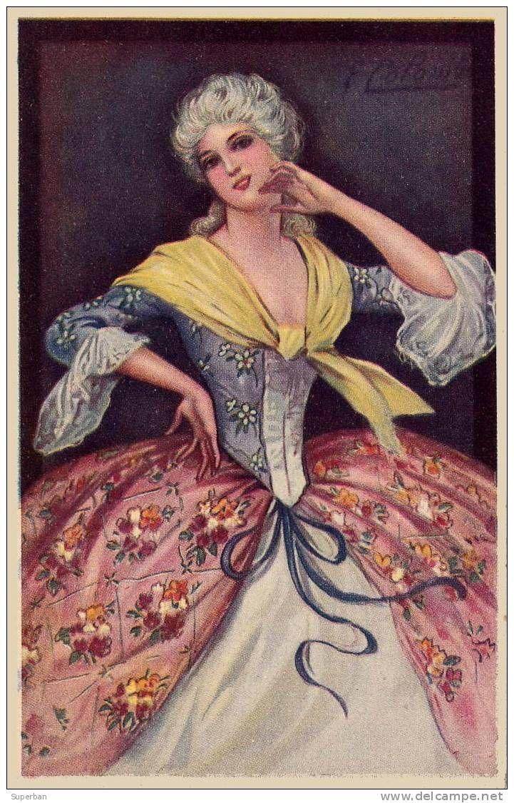 ART DÉCO : JEUNE FEMME de BELLE ÉPOQUE - ILLUSTRATION SIGNÉE: E. COLOMBO - ANNÉE: ENV. 1920 (i-010)