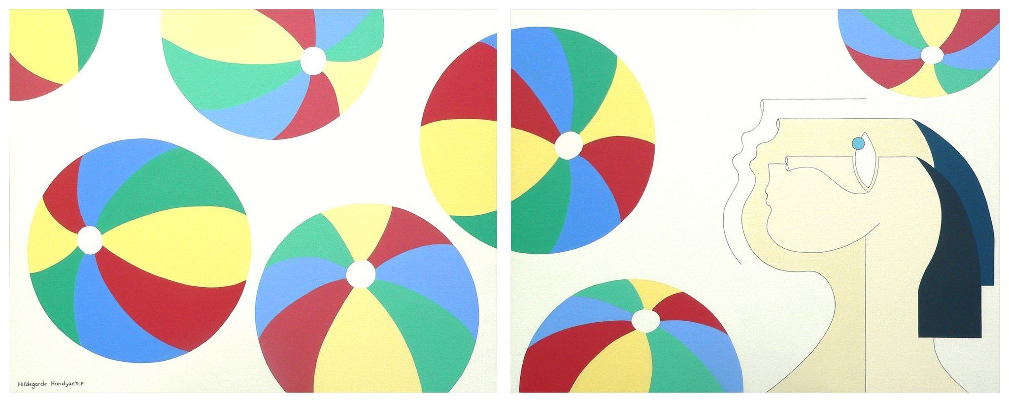Beach Balls Diptych In 2020 Painting Abstract
