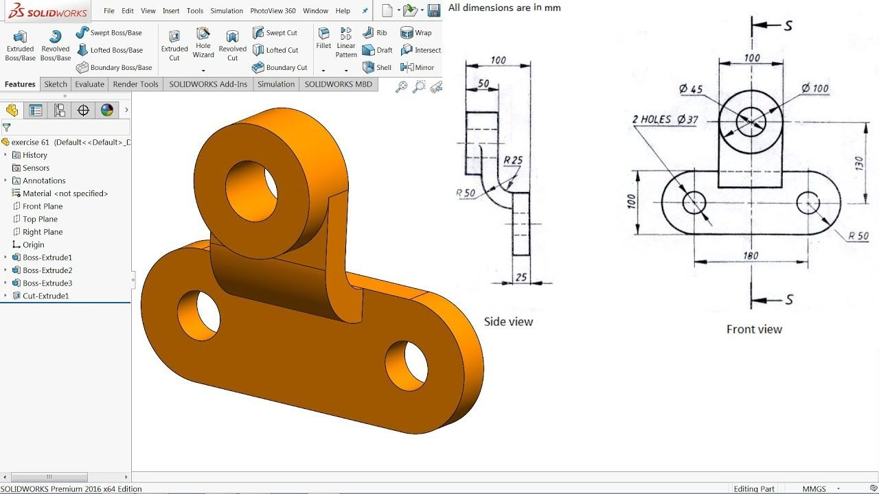 Solidworks Tutorial For Beginners Exercise 61 Youtube