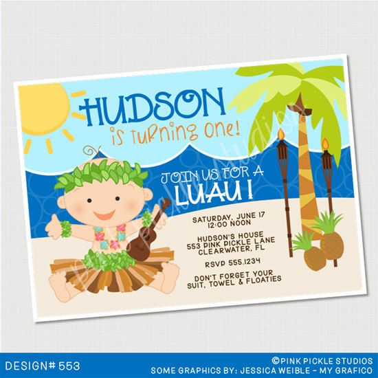 Baby Luau Boy Birthday Invitation Or Thank By PinkPickleParties 1000