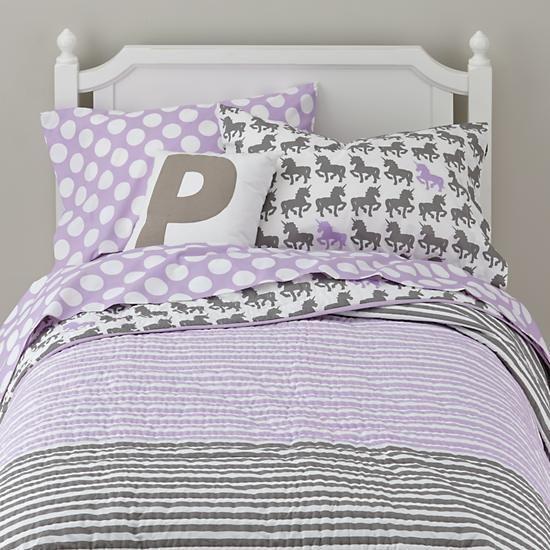 modern unicorn print kids bedding purple the land of nod big girl bed bed for girls room. Black Bedroom Furniture Sets. Home Design Ideas