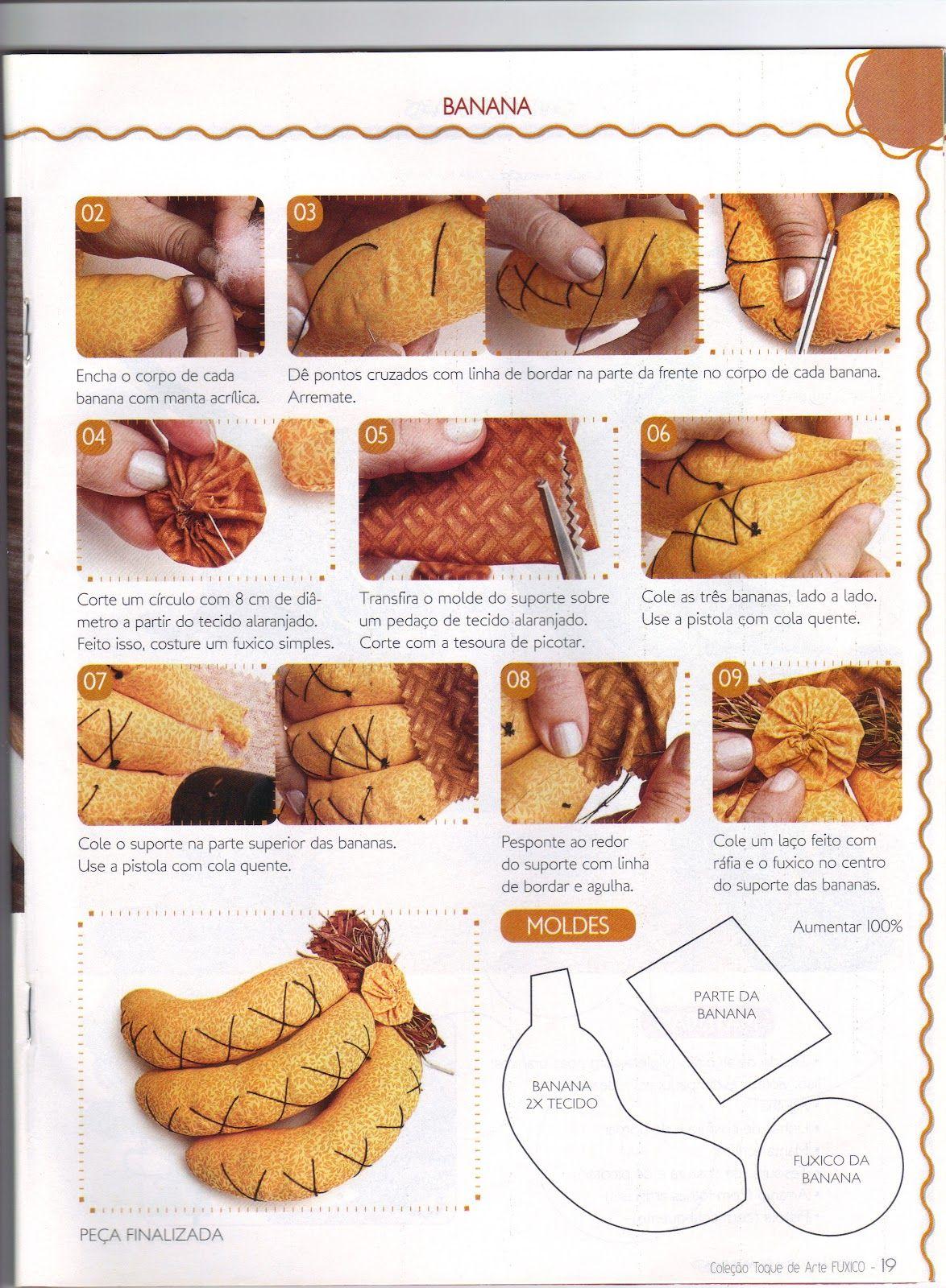 Artesanato Geral Passo A Passo ~ Moldes Para Artesanato em Tecido Banana de tecido passo a passo com Molde frutas Pinterest