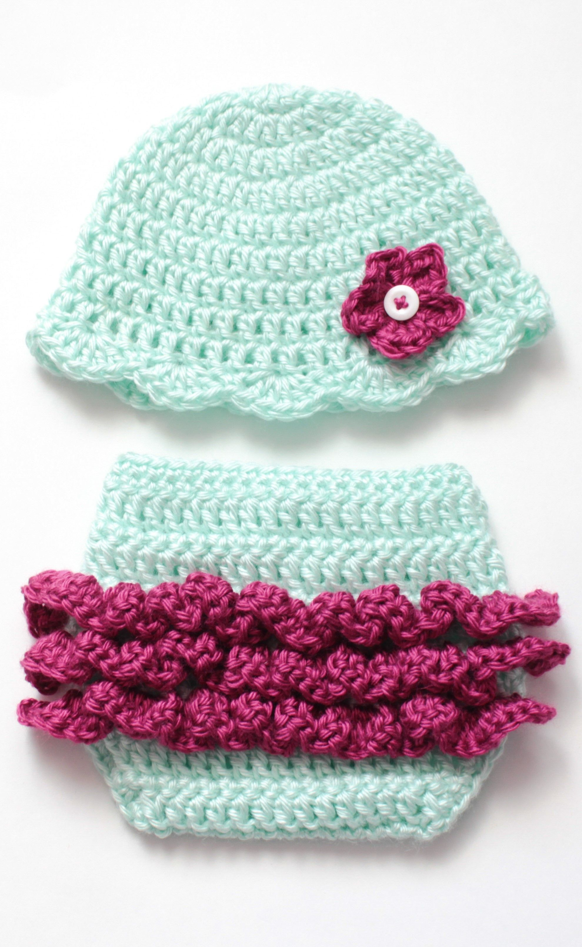 baby girl crochet ruffle diaper and hat with flower photo outfit