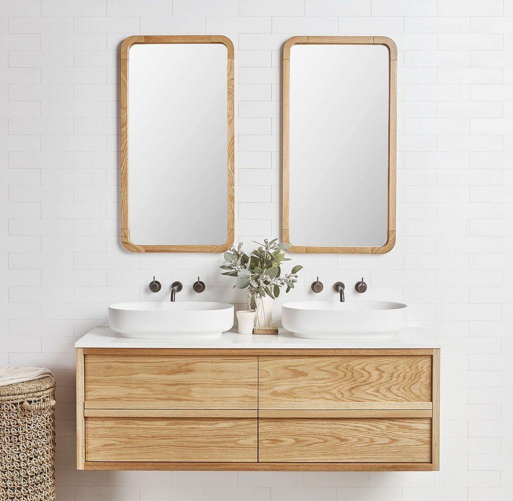 30 Wonderful Single Vanity Bathroom Design Ideas To Try Timber Vanity Bathroom Trends House And Home Magazine