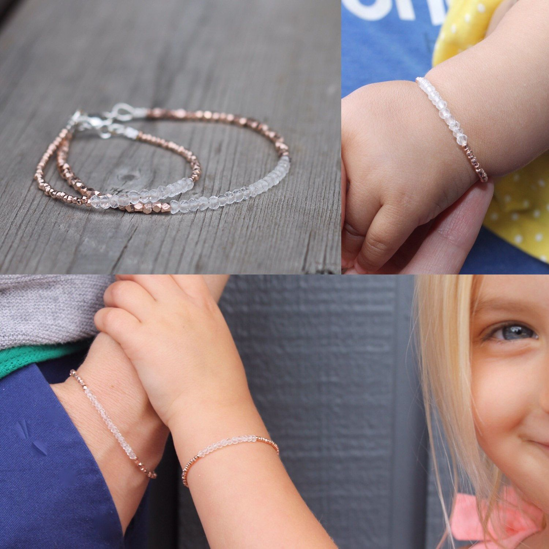 Quartz and rose gold mommy u me bracelets matching bracelet quartz