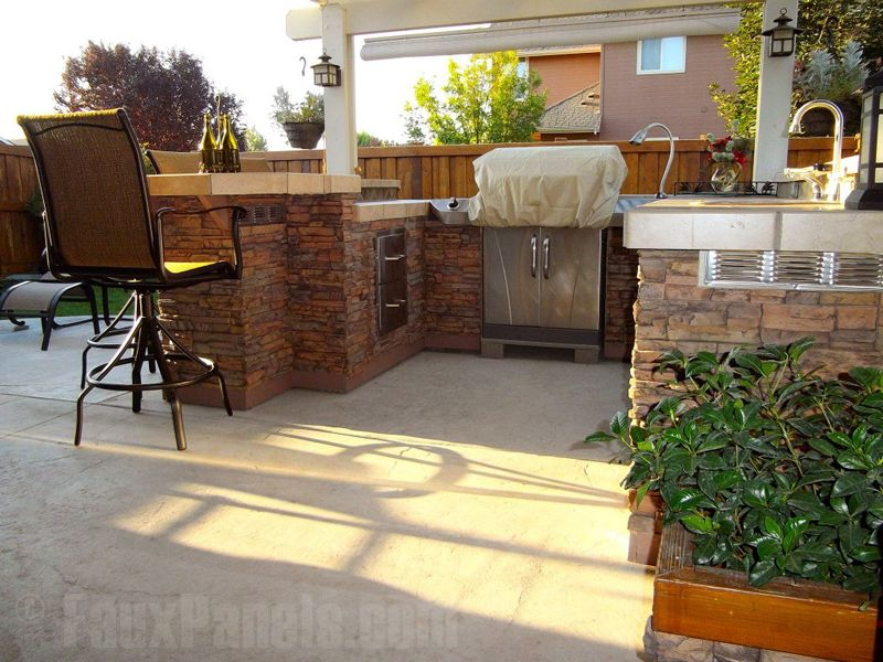 Faux Stone Siding Panels In Our Regency Pattern Look Terrific On An Outdoor Island Designe Beautiful Outdoor Living Spaces Outdoor Kitchen Plans Outdoor Living