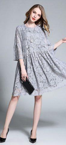 49efc6582295 Hualong Elegant Hollow Knee Length Plus Size Lace Dress Order here  →→bit.ly 2mshmcf  women  fashion  HoustonFashion  Housto…