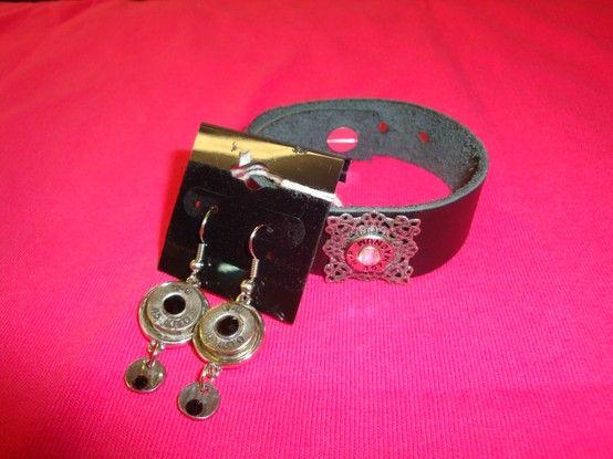 Shotgun Drop Earrings and Leather Bracelet