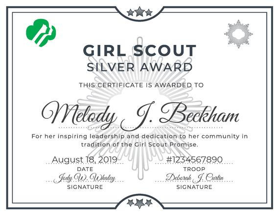 Girl Scout Silver Award Certificate Printable Pdf Template