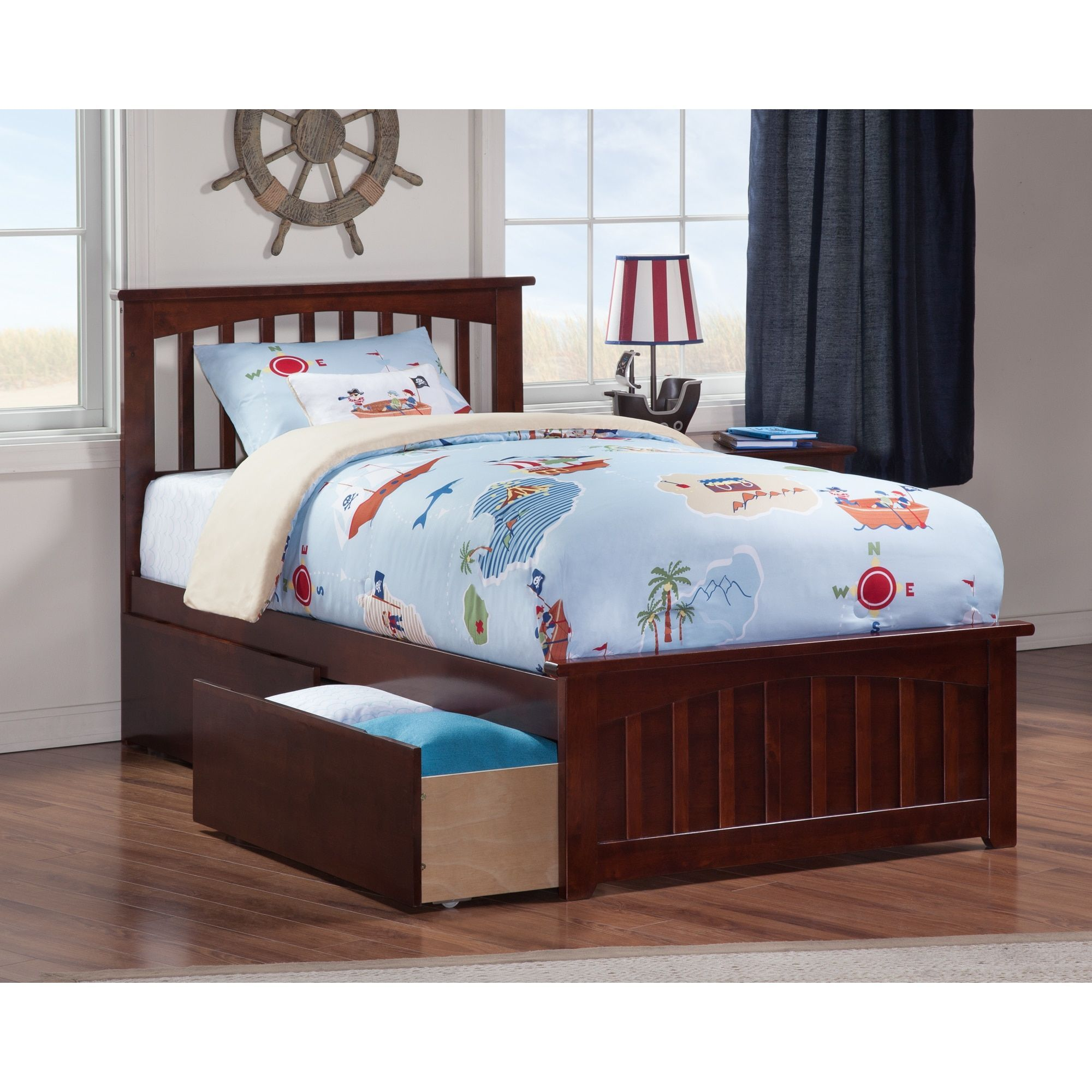 Atlantic Furniture Mission Twin Bed With Matching Foot Board 2 Urban Drawers In Walnut