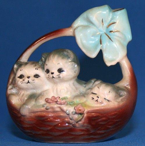 VINTAGE - JOSEF ORIGINALS 3 CUTE KITTY CATS IN A BASKET - PORCELAIN FIGURINE | eBay