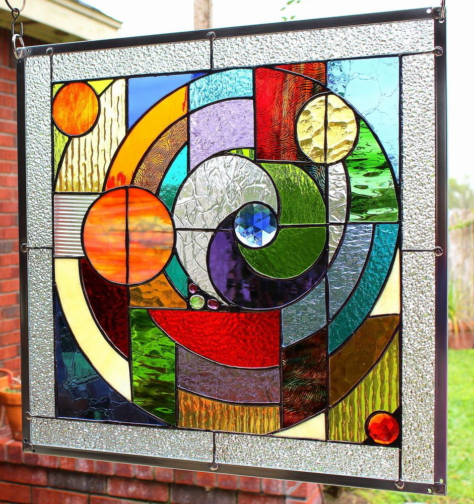 stained glass window panel   u0026quot round and round u0026quot   abstract