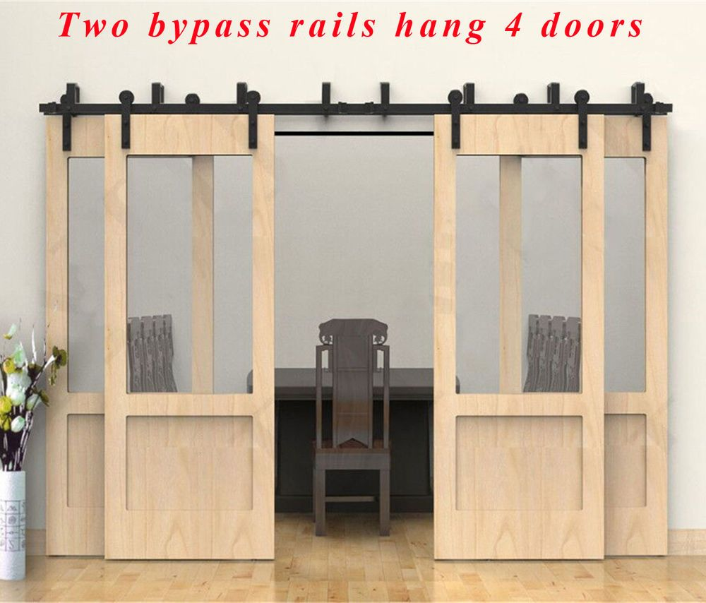 8ft 10ft 14ft 19ft Bypass Barn Wood Door Hardware Closet Sliding Kit For 4 Doors Ccjh Coun Sliding Doors Interior Wood Doors Interior Interior Doors For Sale