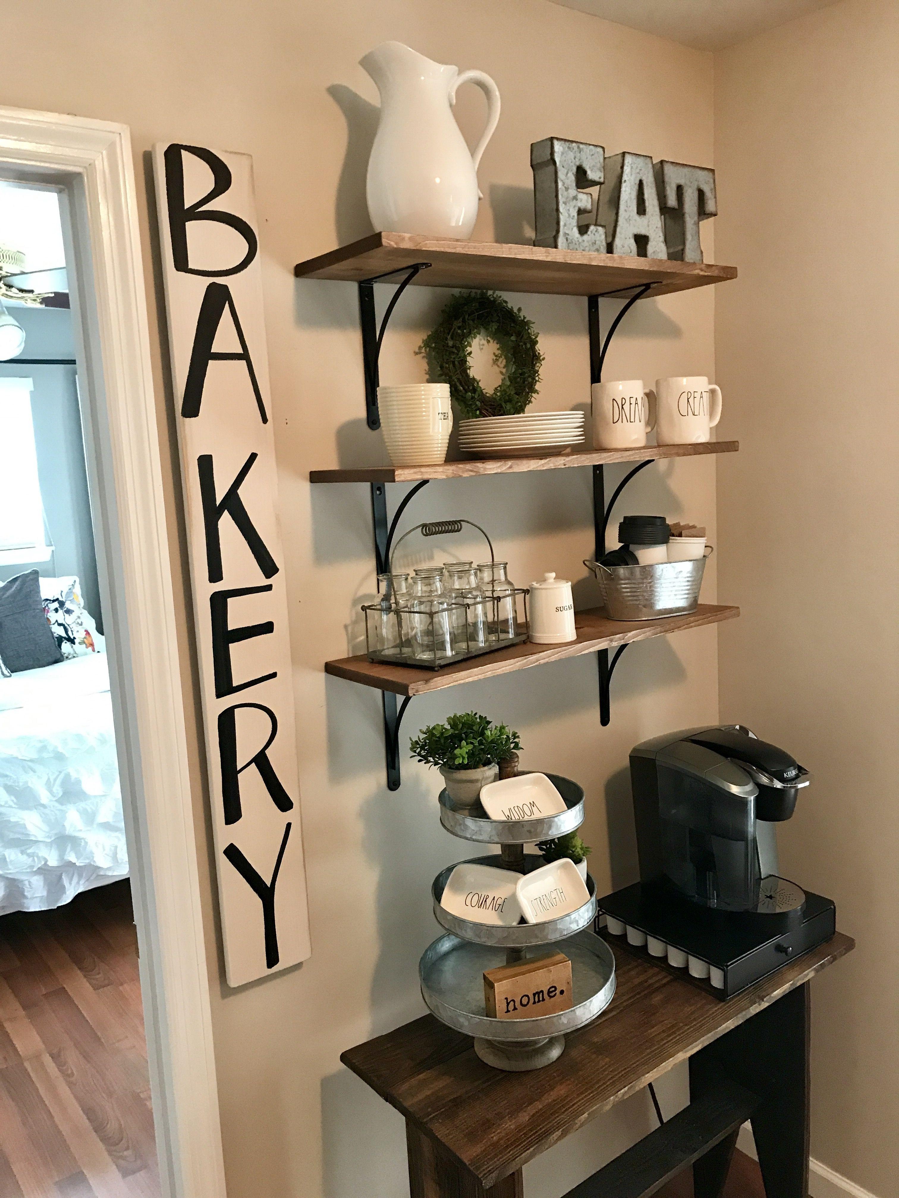 Rae Dunn, kitchen shelving, bakery, farmhouse Kitchen