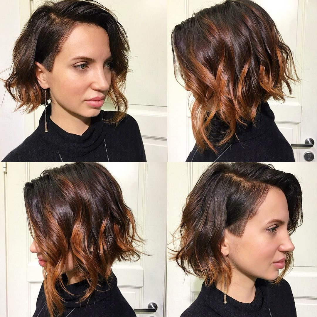 wavy angled undercut bob with balayage color - get this hairstyle