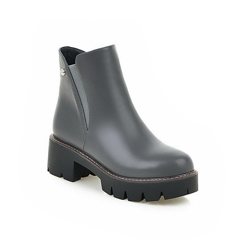 Women's Soft Material Zipper Round Closed Toe Kitten-Heels Low-Top Boots