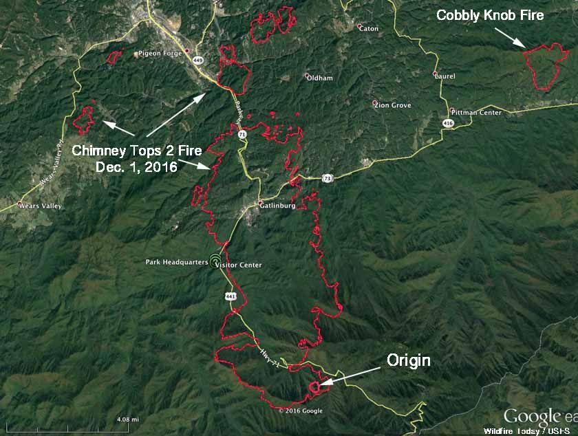 Chimney Tops 2 Fire Map Gatlinburg Gatlinburg Tennessee Wildfire