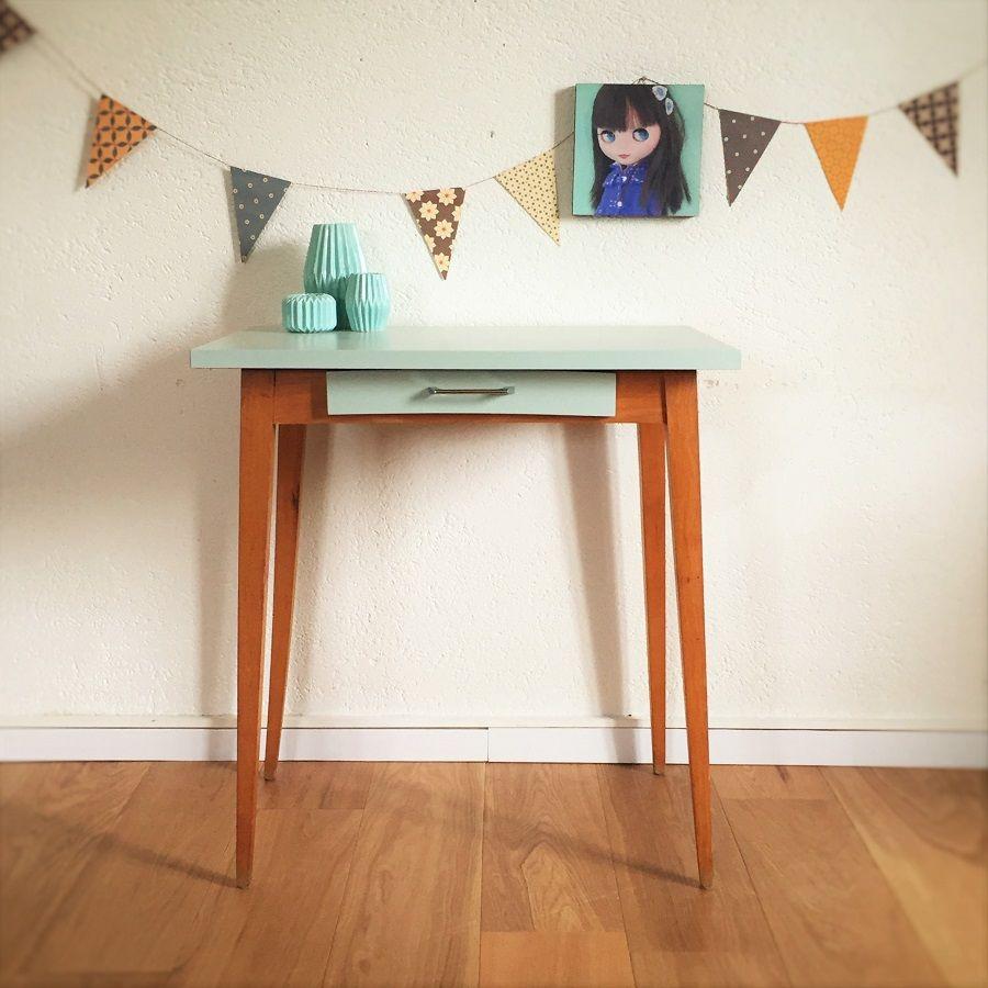 Table bureau vintage r nov en pi ce unique mid century for Table bureau