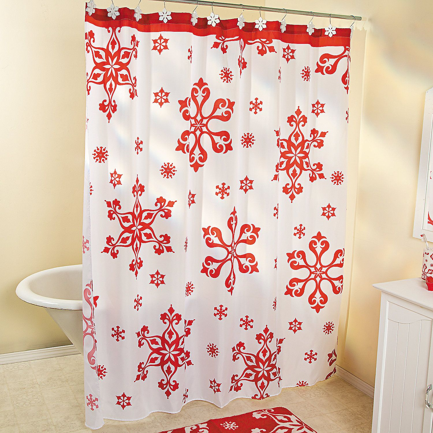 Holiday Snowflake Shower Curtain Orientaltrading Com Snowflake