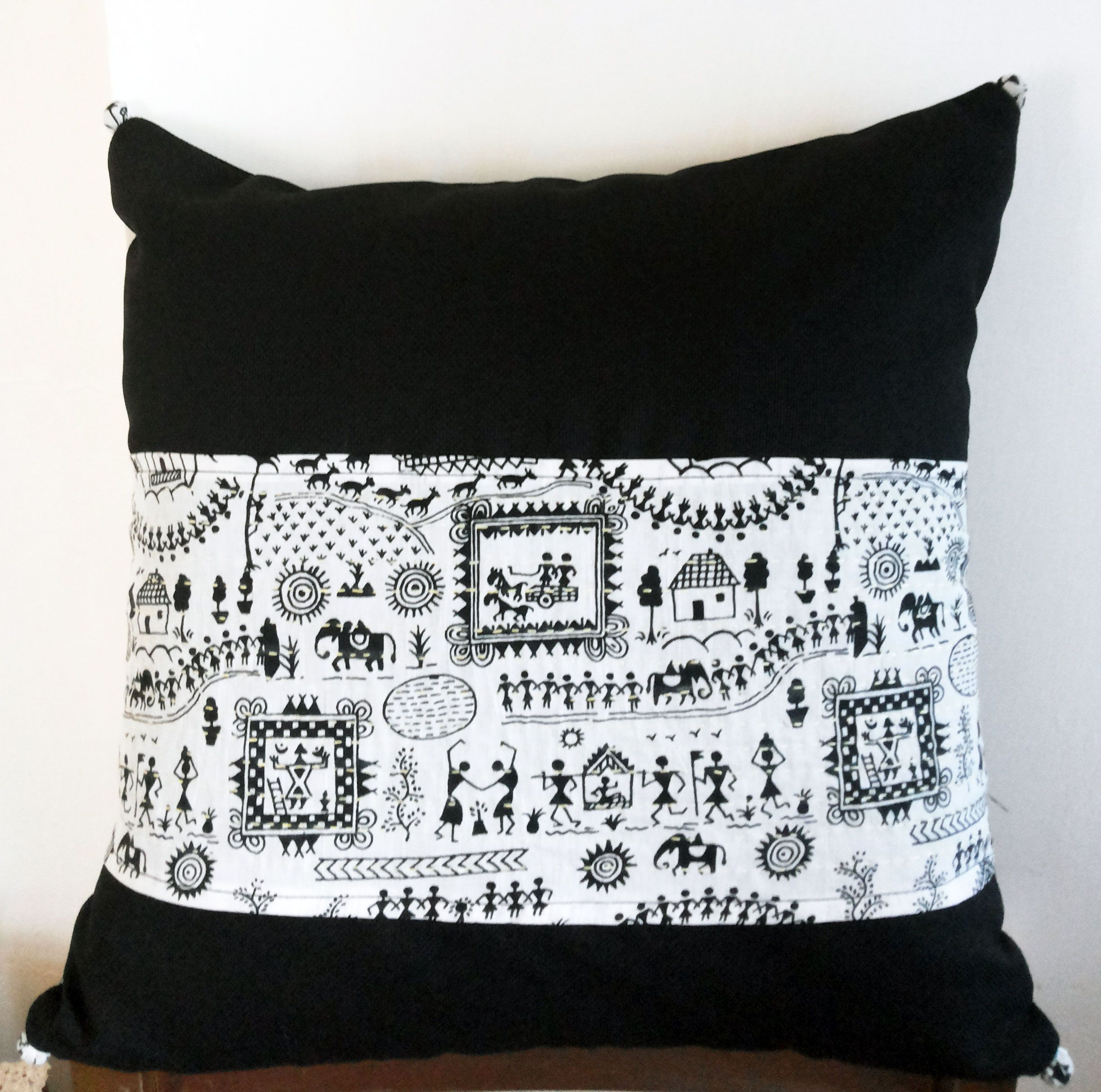 18x18 Decorative Black Throw Pillow cover in Indian Cotton Fabric