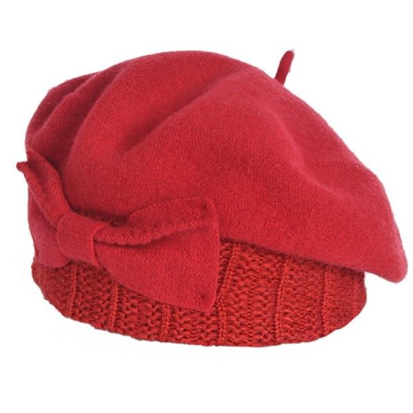 3add3a8da9b78 Z s Women Wool Beret Knit Cap with Bow ( 17) ❤ liked on Polyvore featuring