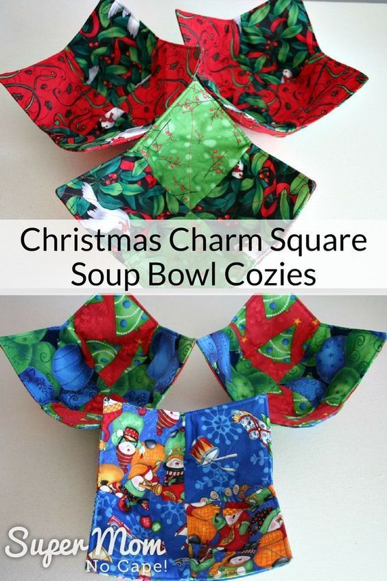 Looking for a Christmas Gift that will be used and appreciated? Make a set of these Christmas Charm Square Soup Bowl Cozies. Link to the complete step-by-step tutorial. #diygiftideas #giftideas #christmasgiftideas