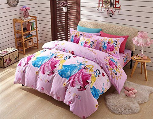 Sisbay Disney Princess Snow White Bed Set Queen Size Baby Girls Cartoon Duvet Cover Pink Print Bed Sheet Child Birthda White Bed Set Bedding Sets White Bedding