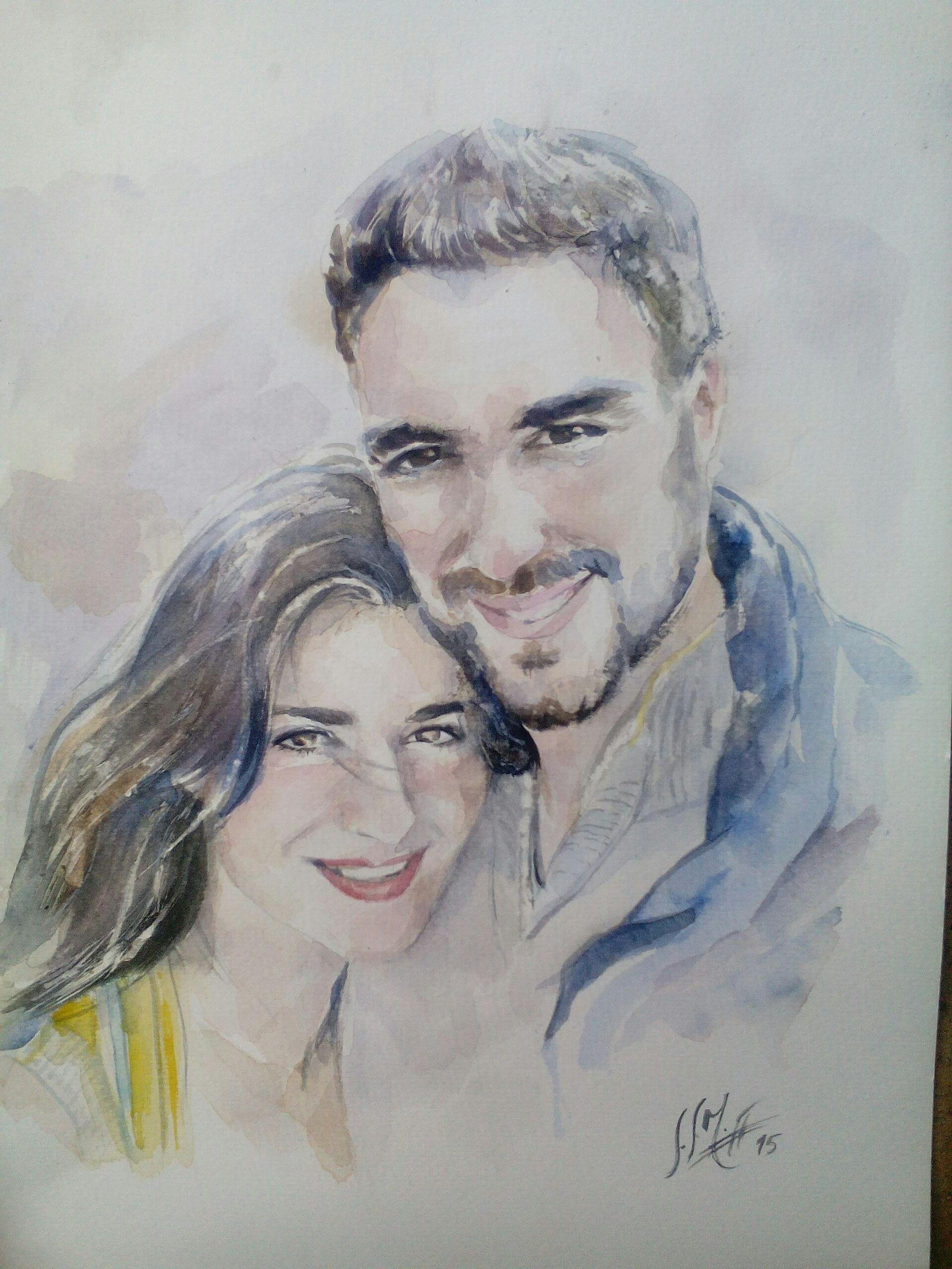 Acuarela. Retrato pareja (2015)  Alexandra Sánchez