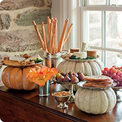 Pumpkins elevate the serving dishes