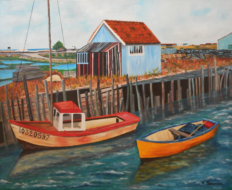 Peinture à l'huile - Tableau sur L'île d'Oléron-Cabanes de pêcheurs-Original Oil Painting ...