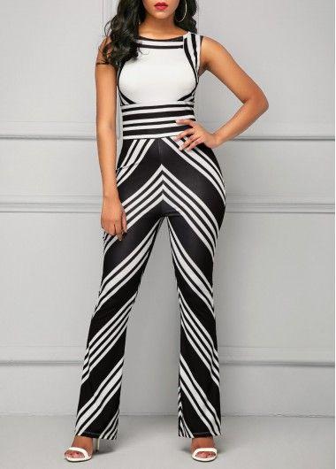 db7b091c3f0f Sleeveless High Waist Stripe Print Jumpsuit