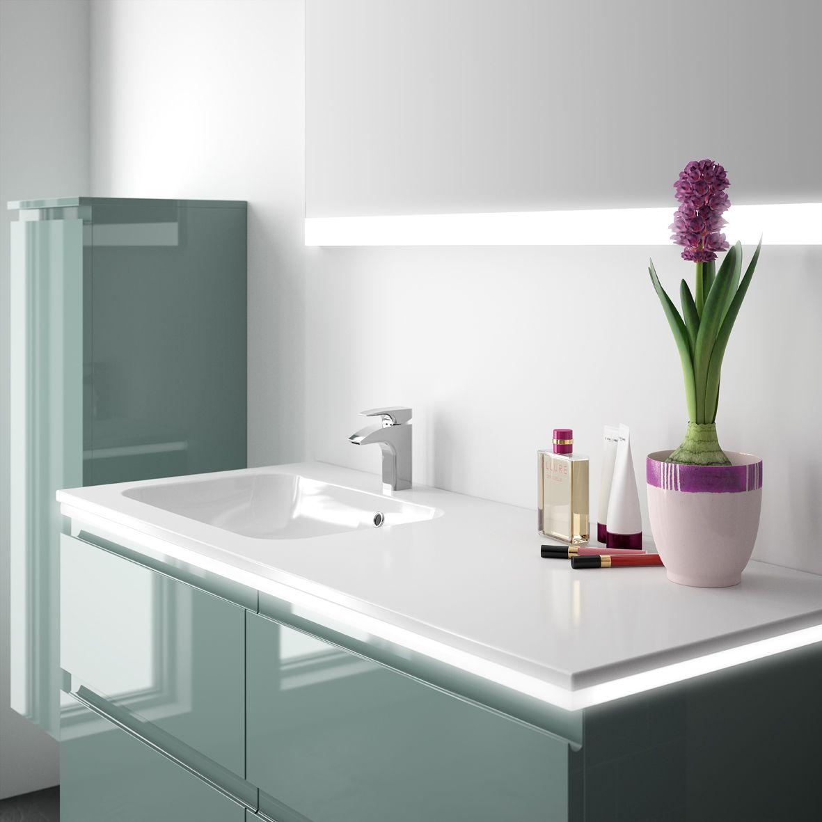 Plan vasque en marbre reconstitué brillant disponible en mat Cedam