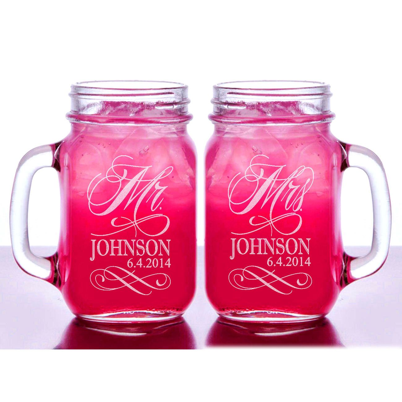 Mr and Mrs Personalized Wedding Mason Jars Set of 2 Engraved His ...