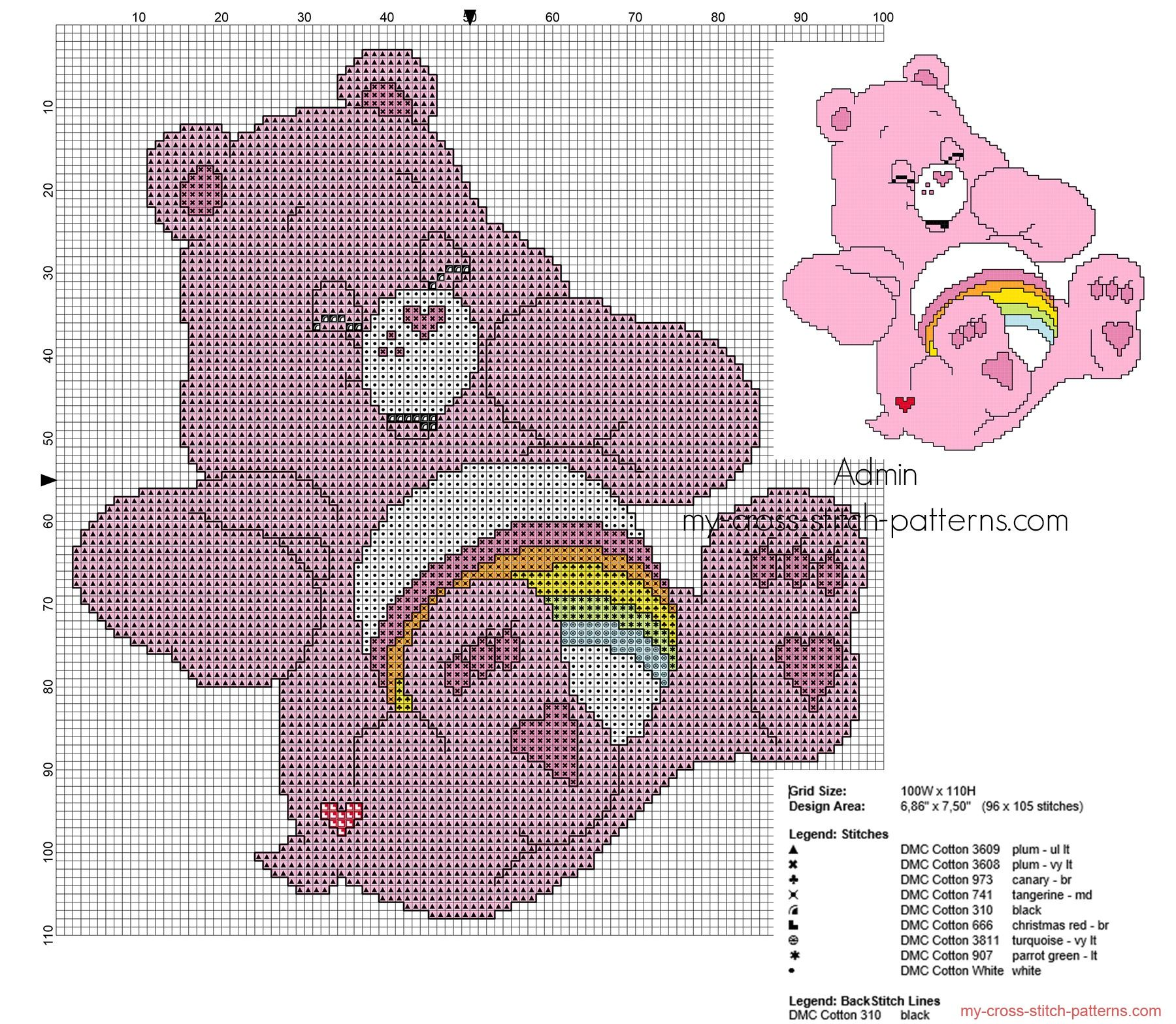 Small back stitch cross stitch pattern cheer bear from care bears small back stitch cross stitch pattern cheer bear from care bears bankloansurffo Choice Image