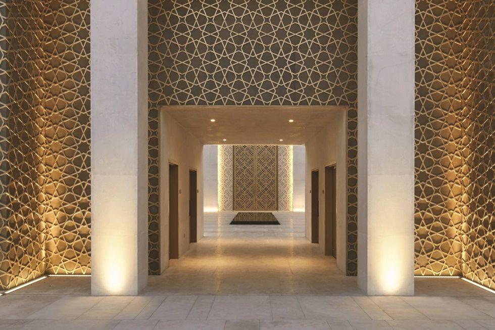Image result for collonaded lobby screens pinterest for Modern islamic building design