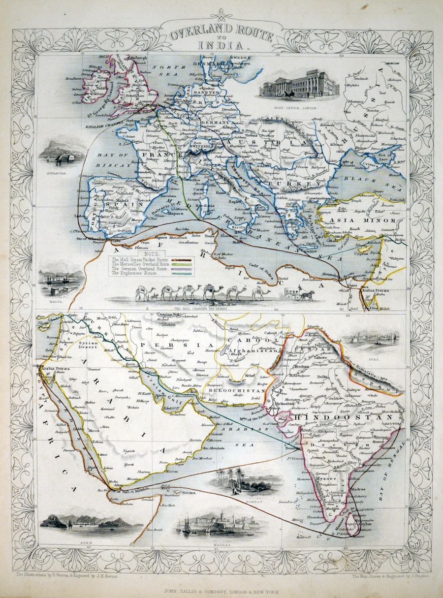 Overland route to india tallis john london john tallis company london john tallis company 1851 two maps on one sheet the top one shows europe and the bottom shows arabia persia and india gumiabroncs Image collections