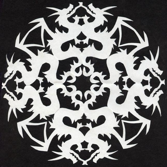 unicorn snowflake template  Dragon Pattern - Fantasy Art | Paper snowflake patterns ...