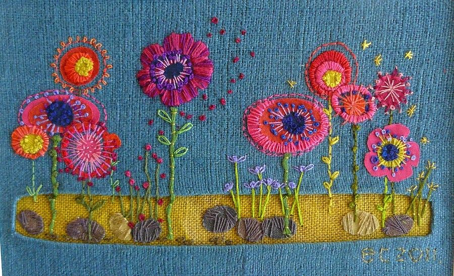 Liz Cooksey's Embroideries. - Art is a Way  There's a lot of garden embroideries on this link