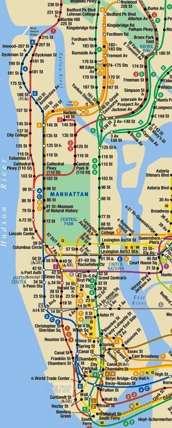 Subway Map In Manhatten.Manhattan Subway Map New York City The Arts