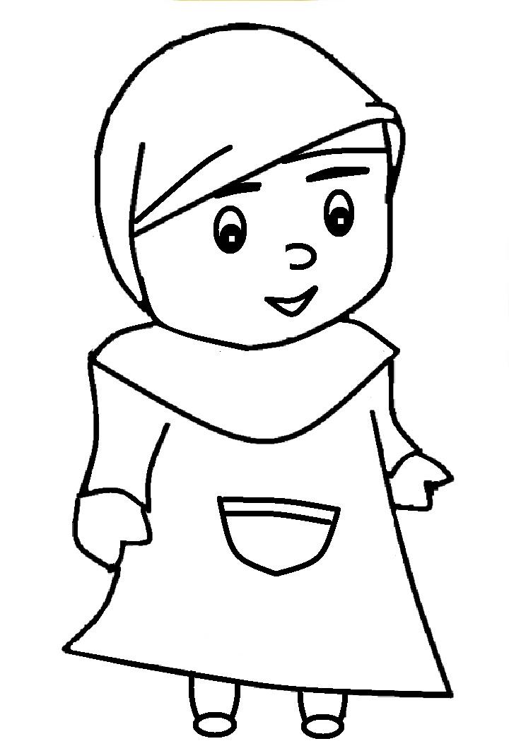 Gambar Mewarnai Anak Muslim 8 Kartun Anak Warna