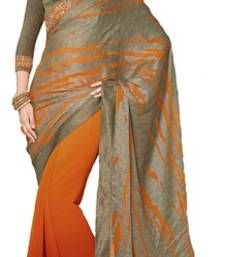 Buy Orange and Grey printed chiffon saree with blouse brasso-saree online