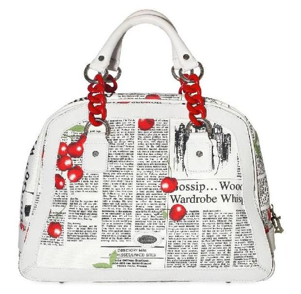 ffbe9cc744278 Bag by John galliano with contrast cherry print over newspaper print ...