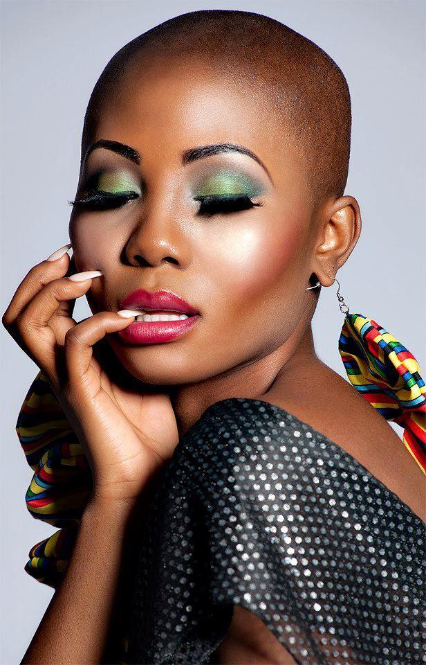 Like the color on black women Brown skin makeup, Bald hair