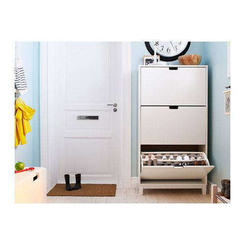 Ställ Shoe Cabinet With 3 Compartments, White | Casiers, Armoires