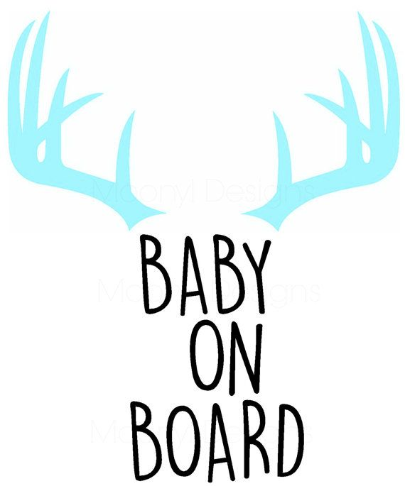 Baby On Board Antlers Vinyl Decal Window By MoonylDesigns