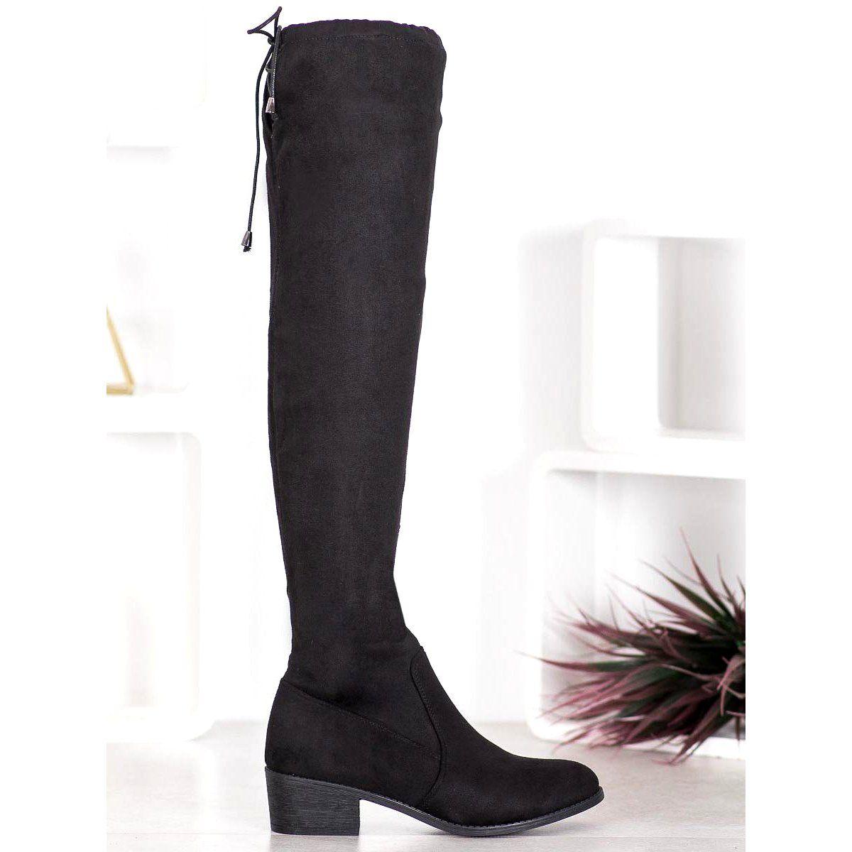 Small Swan Czarne Kozaki Nad Kolano Boots Over Knee Boot Knee Boots