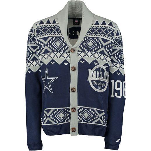 new concept e3d43 6ec9e Dallas Cowboys Navy Ugly Christmas Sweater Cardigan   Cowboy ...