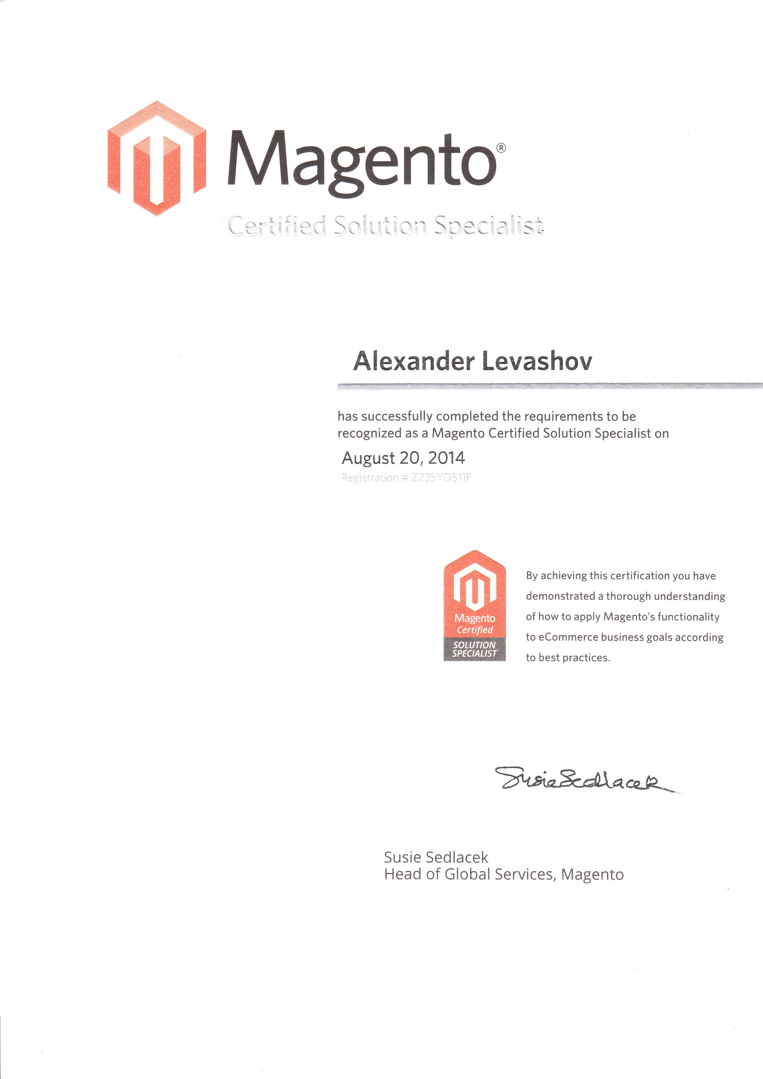 Magento certified solution specialist certificate alex levashov magento certified solution specialist certificate alex levashov ecommerce consultant melbourne australia 1betcityfo Choice Image
